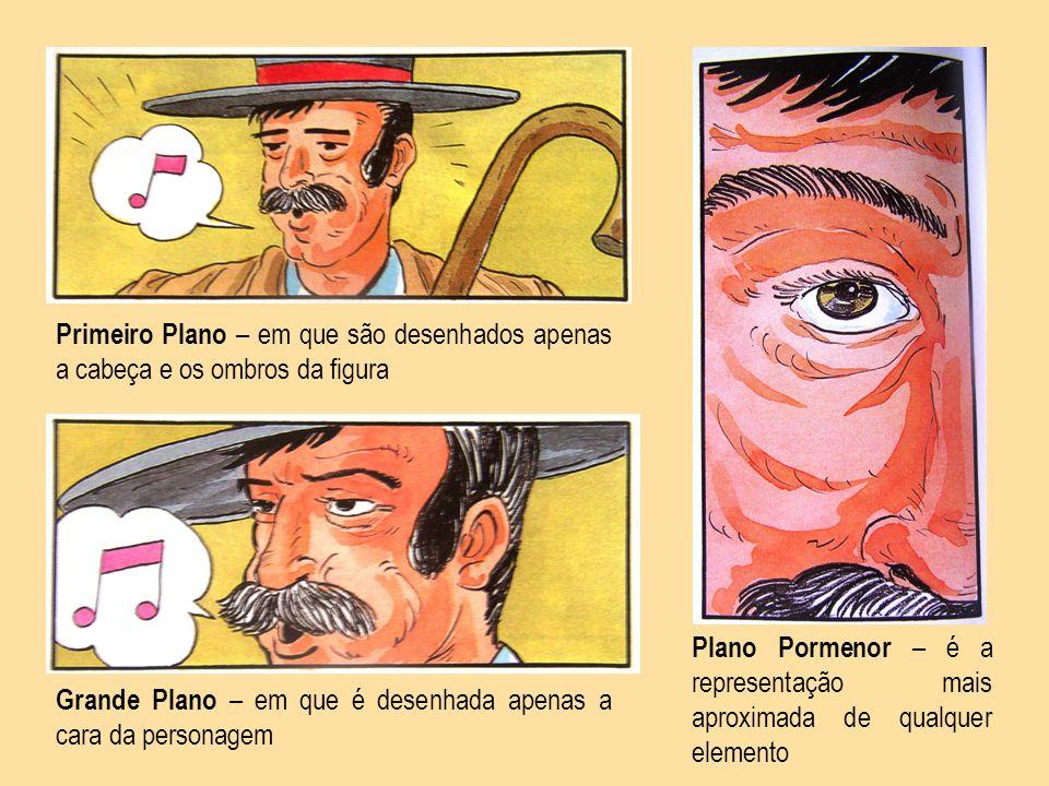 Primeiro Plano – em que são desenhados apenas a cabeça e os ombros da figura Grande Plano – em que é desenhada apenas a cara da personagem Plano Porme