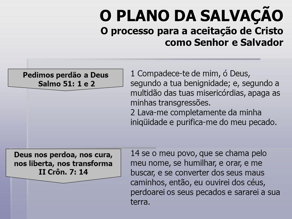 O PLANO DA SALVAÇÃO O processo para a aceitação de Cristo como Senhor e Salvador Pedimos perdão a Deus Salmo 51: 1 e 2 Deus nos perdoa, nos cura, nos