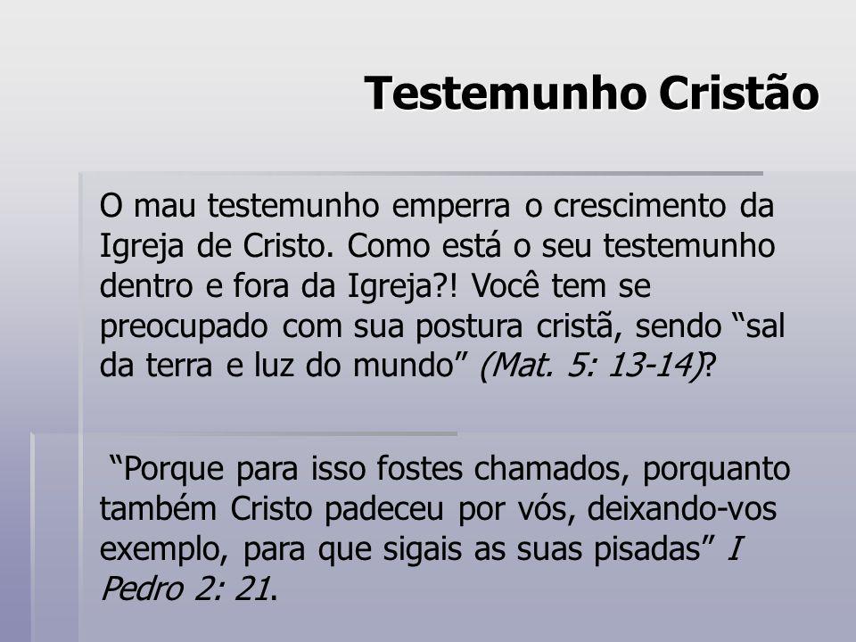 Testemunho Cristão O mau testemunho emperra o crescimento da Igreja de Cristo. Como está o seu testemunho dentro e fora da Igreja?! Você tem se preocu