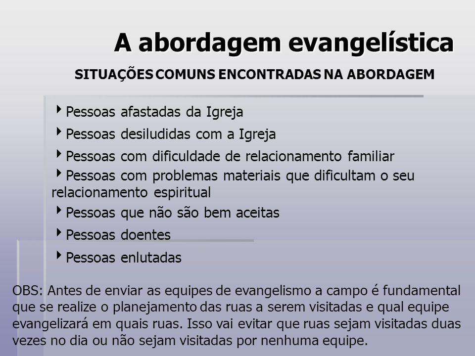 A abordagem evangelística SITUAÇÕES COMUNS ENCONTRADAS NA ABORDAGEM Pessoas afastadas da Igreja Pessoas desiludidas com a Igreja Pessoas com dificulda
