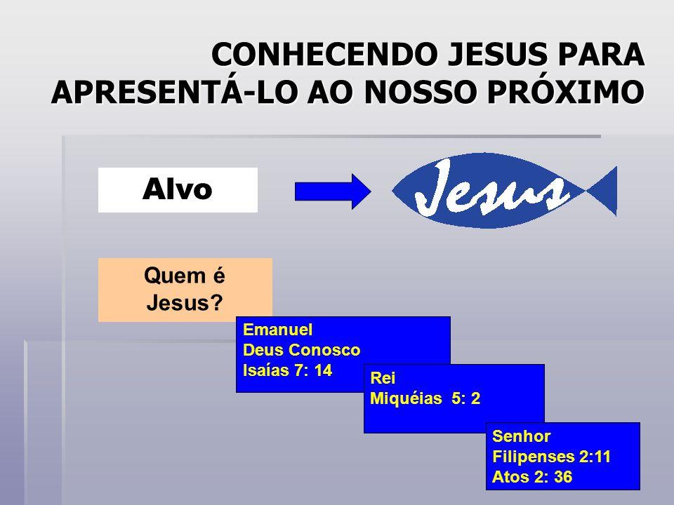 CONHECENDO JESUS PARA APRESENTÁ-LO AO NOSSO PRÓXIMO Alvo Quem é Jesus? Emanuel Deus Conosco Isaías 7: 14 Rei Miquéias 5: 2 Senhor Filipenses 2:11 Atos