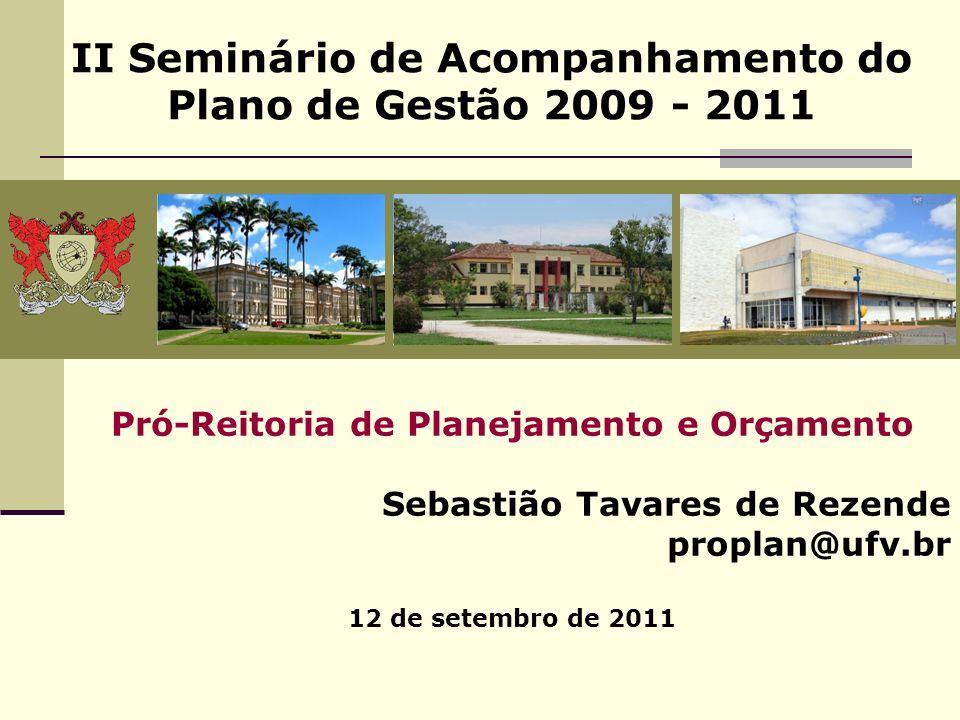 II Seminário de Acompanhamento do Plano de Gestão 2009 - 2011 Pró-Reitoria de Planejamento e Orçamento Sebastião Tavares de Rezende proplan@ufv.br 12