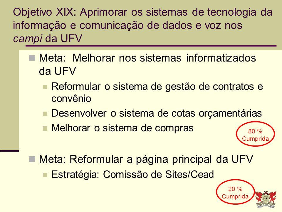 Objetivo XIX: Aprimorar os sistemas de tecnologia da informação e comunicação de dados e voz nos campi da UFV Meta: Melhorar nos sistemas informatizad