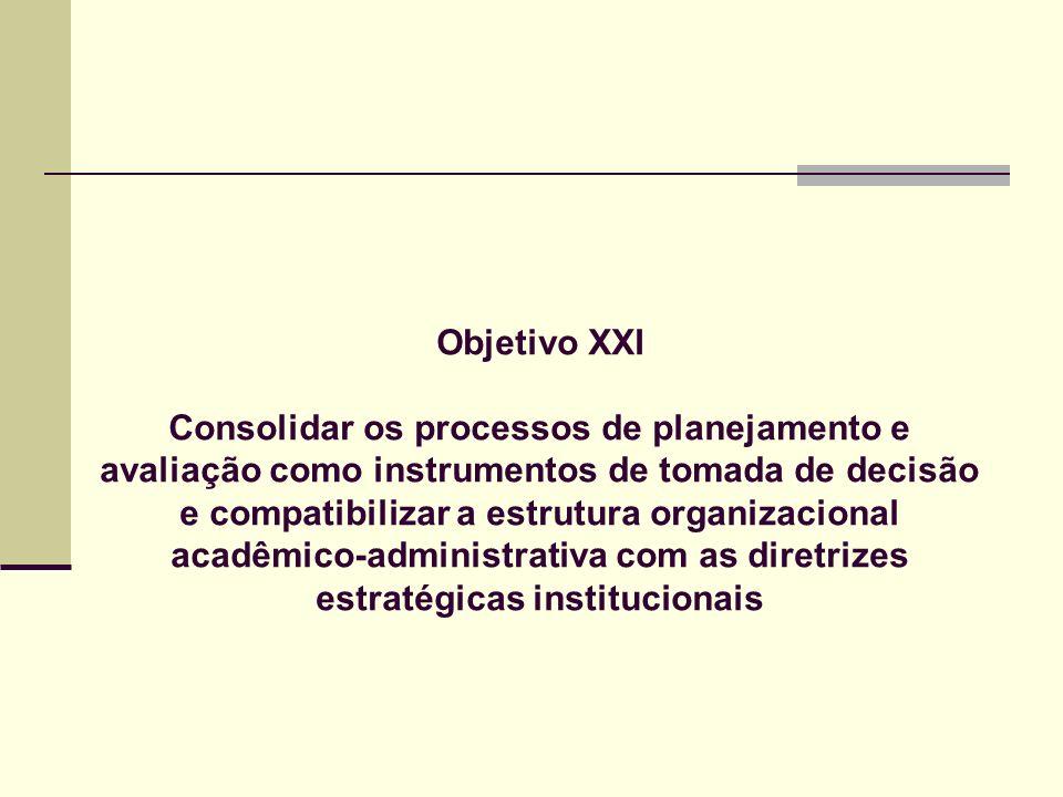 Objetivo XXI Consolidar os processos de planejamento e avaliação como instrumentos de tomada de decisão e compatibilizar a estrutura organizacional ac
