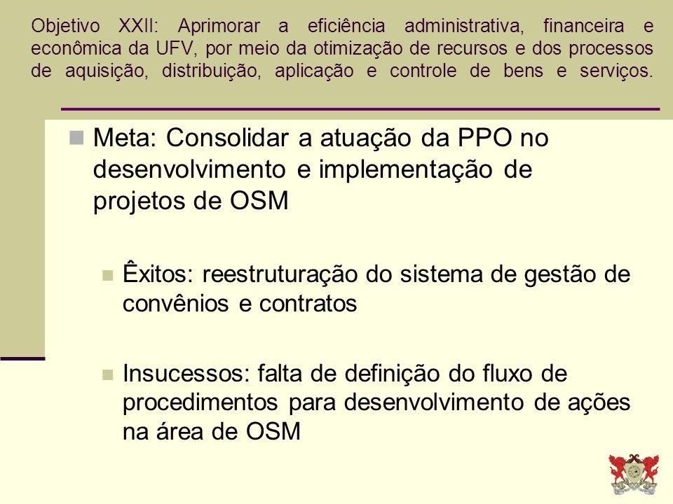 Objetivo XXII: Aprimorar a eficiência administrativa, financeira e econômica da UFV, por meio da otimização de recursos e dos processos de aquisição,
