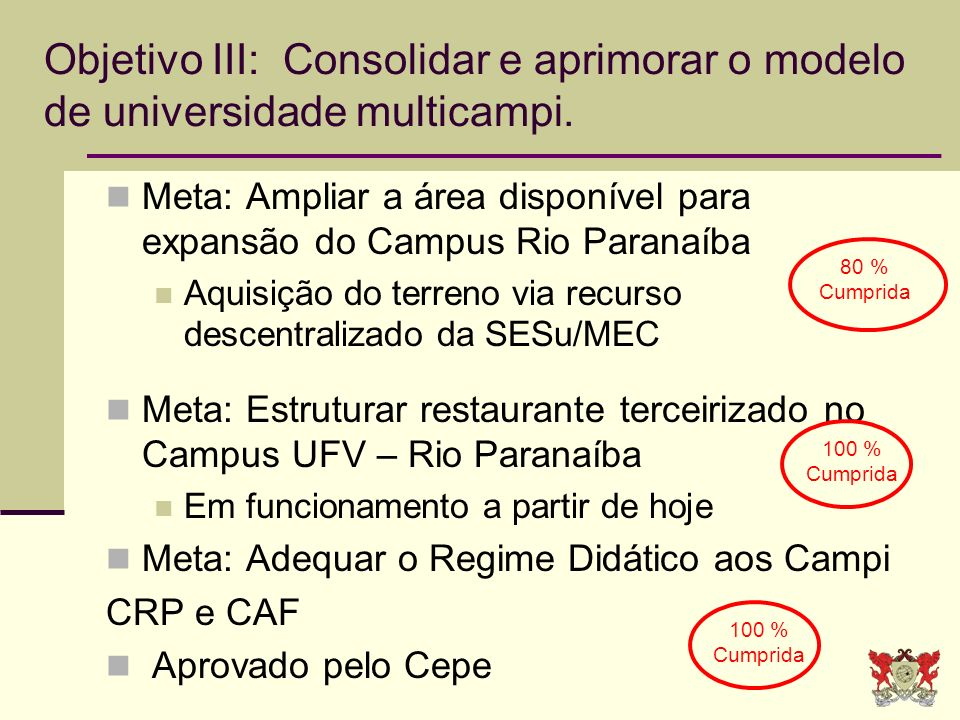 Meta: Ampliar a área disponível para expansão do Campus Rio Paranaíba Aquisição do terreno via recurso descentralizado da SESu/MEC Meta: Estruturar re