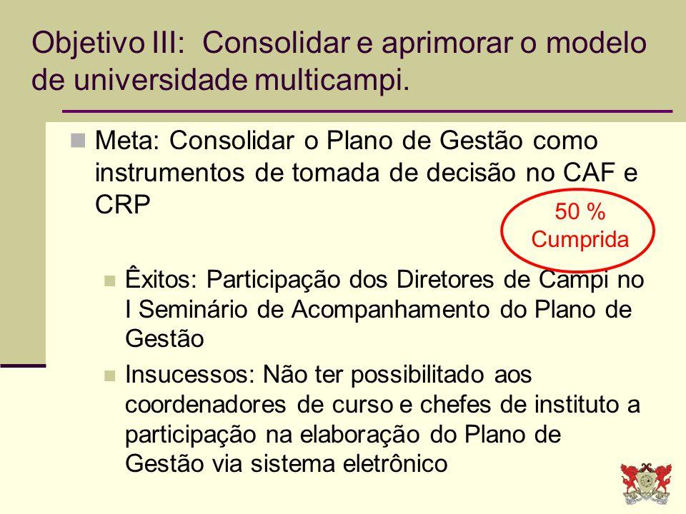Objetivo III: Consolidar e aprimorar o modelo de universidade multicampi. Meta: Consolidar o Plano de Gestão como instrumentos de tomada de decisão no