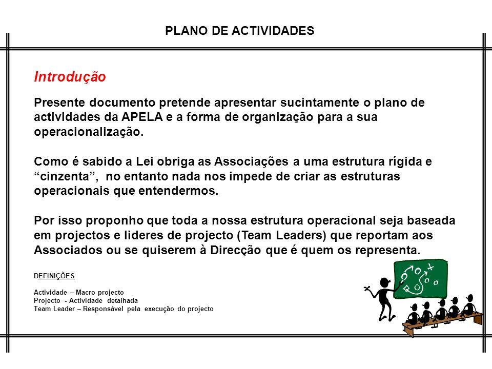 PLANO DE ACTIVIDADES Introdução Presente documento pretende apresentar sucintamente o plano de actividades da APELA e a forma de organização para a su