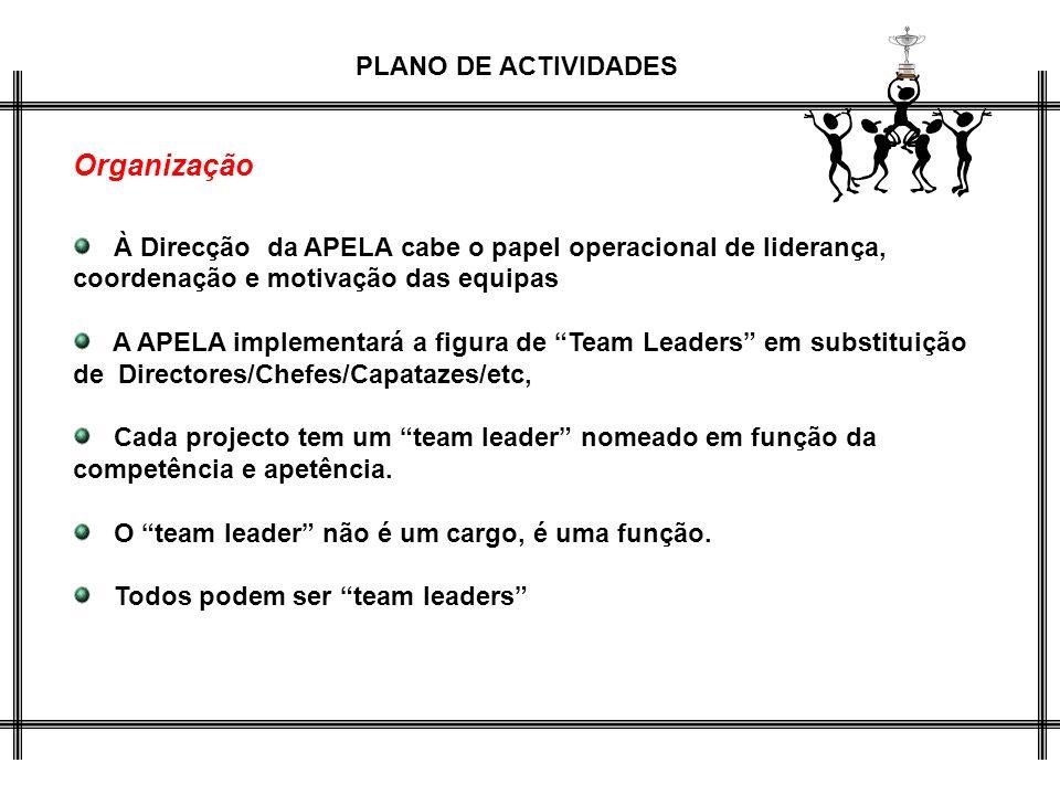 PLANO DE ACTIVIDADES Organização À Direcção da APELA cabe o papel operacional de liderança, coordenação e motivação das equipas A APELA implementará a