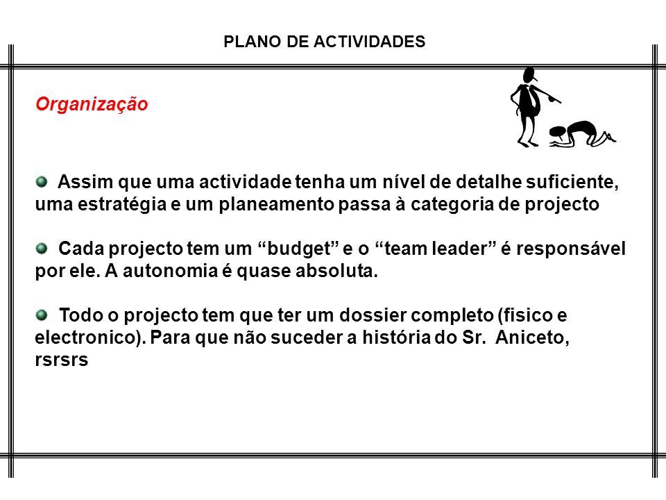 PLANO DE ACTIVIDADES Organização Assim que uma actividade tenha um nível de detalhe suficiente, uma estratégia e um planeamento passa à categoria de p