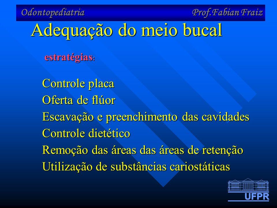 Odontopediatria Prof.Fabian Fraiz Adequação do meio bucal estratégias : Controle placa Oferta de flúor Escavação e preenchimento das cavidades Remoção das áreas das áreas de retenção Utilização de substâncias cariostáticas Controle dietético