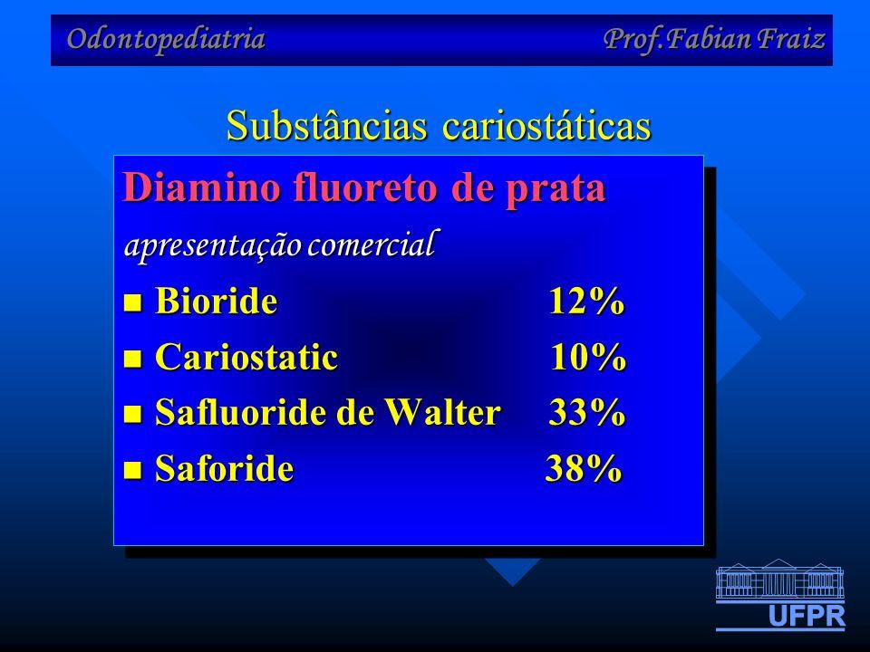 Odontopediatria Prof.Fabian Fraiz Substâncias cariostáticas Diamino fluoreto de prata apresentação comercial Bioride 12% Bioride 12% Cariostatic 10% Cariostatic 10% Safluoride de Walter 33% Safluoride de Walter 33% Saforide 38% Saforide 38% Diamino fluoreto de prata apresentação comercial Bioride 12% Bioride 12% Cariostatic 10% Cariostatic 10% Safluoride de Walter 33% Safluoride de Walter 33% Saforide 38% Saforide 38%