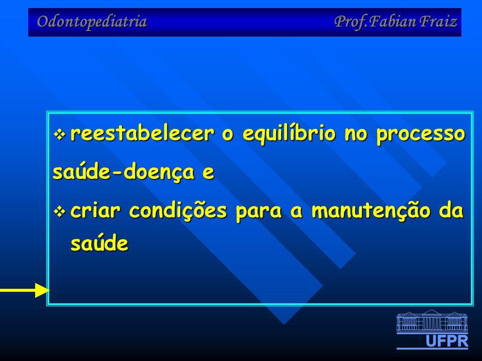 Odontopediatria Prof.Fabian Fraiz reestabelecer o equilíbrio no processo reestabelecer o equilíbrio no processo saúde-doença e criar condições para a manutenção da saúde criar condições para a manutenção da saúde