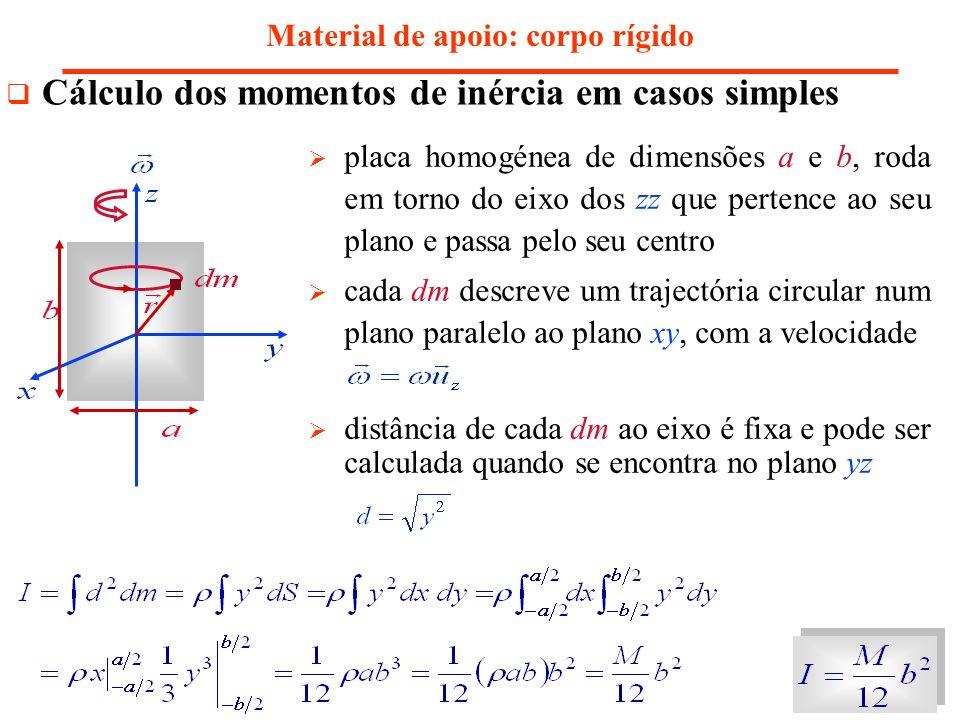 placa homogénea de dimensões a e b, roda em torno do eixo dos zz que pertence ao seu plano e passa pelo seu centro cada dm descreve um trajectória cir
