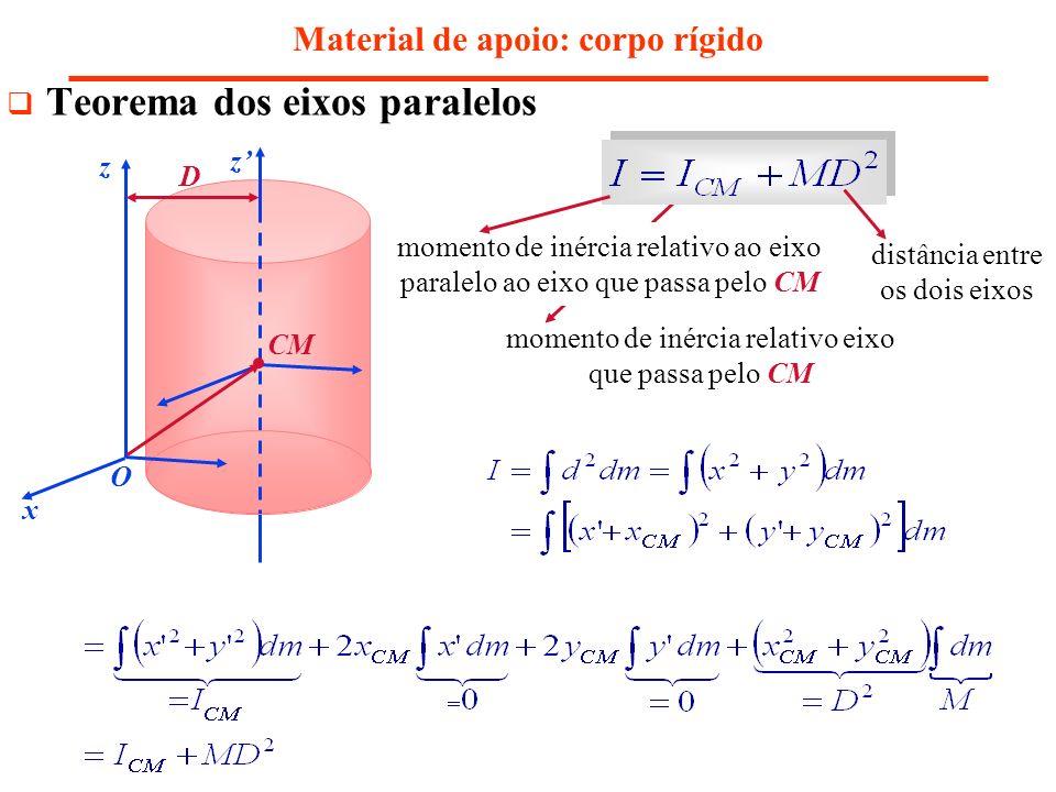 Material de apoio: corpo rígido Teorema dos eixos paralelos z x y O x y z momento de inércia relativo ao eixo paralelo ao eixo que passa pelo CM momen