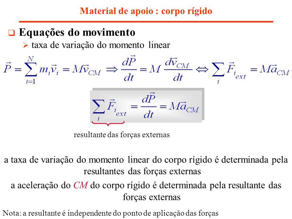 Material de apoio : corpo rígido Equações do movimento taxa de variação do momento linear a taxa de variação do momento linear do corpo rígido é deter