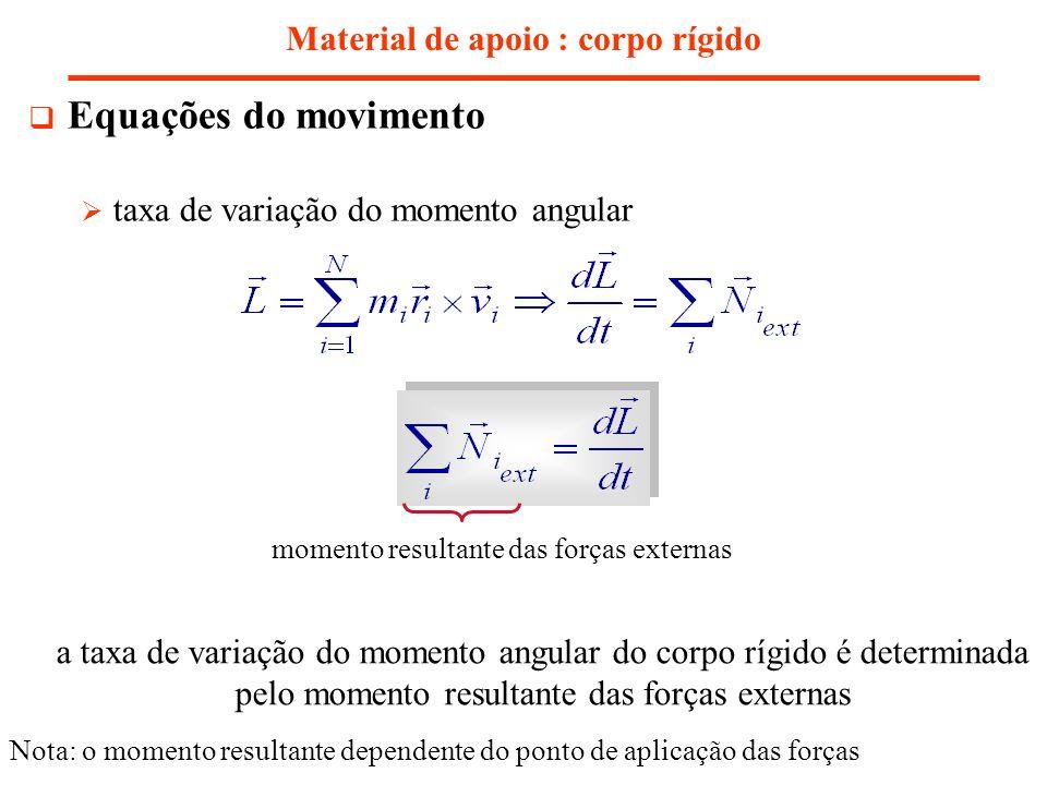 Material de apoio : corpo rígido Equações do movimento taxa de variação do momento angular a taxa de variação do momento angular do corpo rígido é det