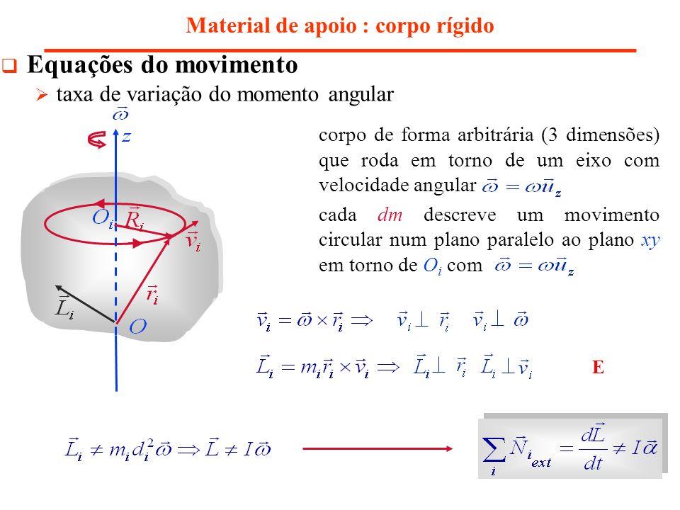 Material de apoio : corpo rígido Equações do movimento taxa de variação do momento angular corpo de forma arbitrária (3 dimensões) que roda em torno d
