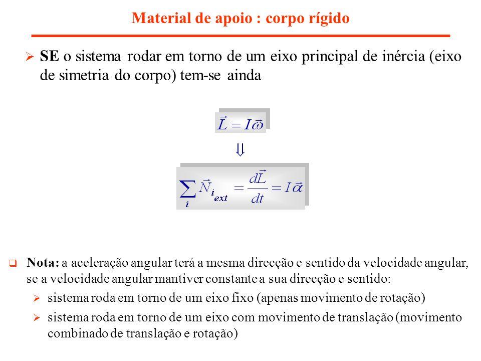 Material de apoio : corpo rígido SE o sistema rodar em torno de um eixo principal de inércia (eixo de simetria do corpo) tem-se ainda Nota: a aceleraç