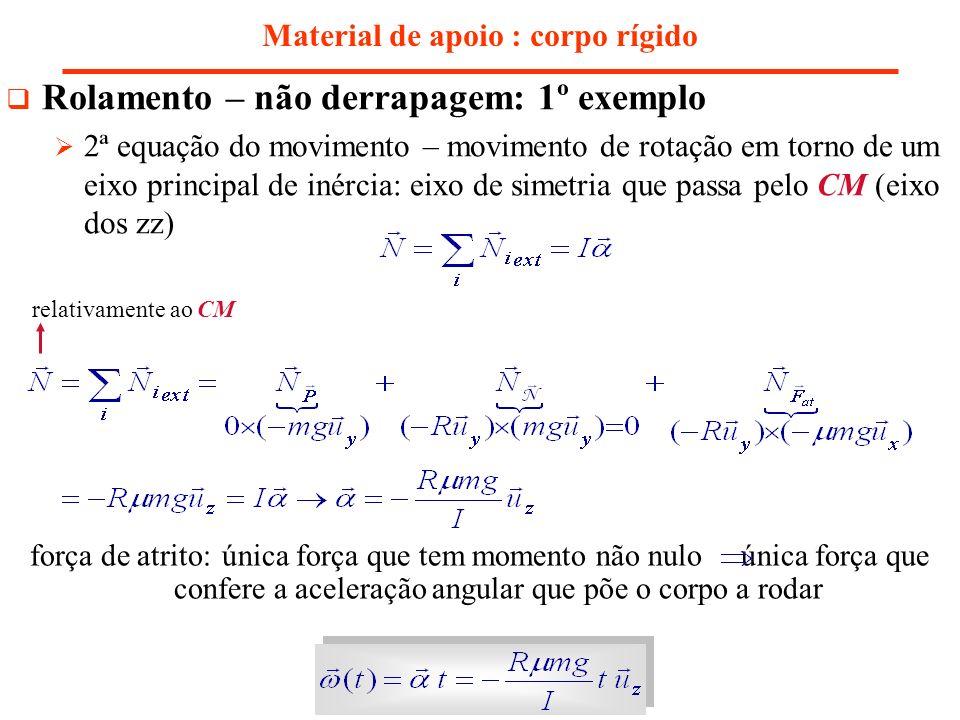 Material de apoio : corpo rígido Rolamento – não derrapagem: 1º exemplo 2ª equação do movimento – movimento de rotação em torno de um eixo principal d