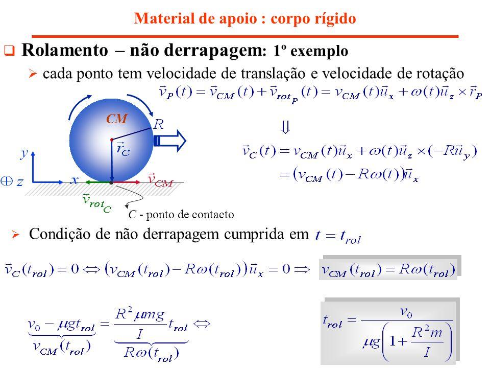 Material de apoio : corpo rígido Rolamento – não derrapagem : 1º exemplo cada ponto tem velocidade de translação e velocidade de rotação Condição de n