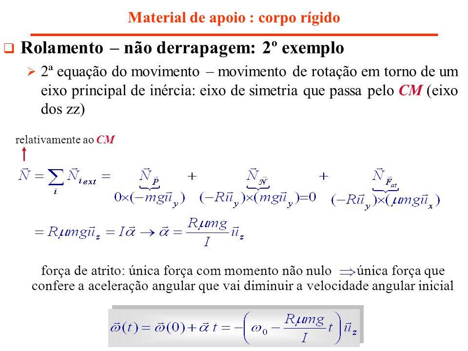 Material de apoio : corpo rígido Rolamento – não derrapagem: 2º exemplo 2ª equação do movimento – movimento de rotação em torno de um eixo principal d