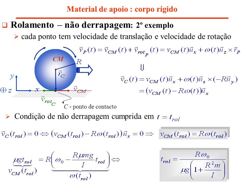 Material de apoio : corpo rígido Rolamento – não derrapagem : 2º exemplo cada ponto tem velocidade de translação e velocidade de rotação Condição de n