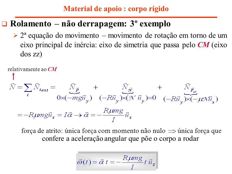 Material de apoio : corpo rígido Rolamento – não derrapagem: 3º exemplo 2ª equação do movimento – movimento de rotação em torno de um eixo principal d