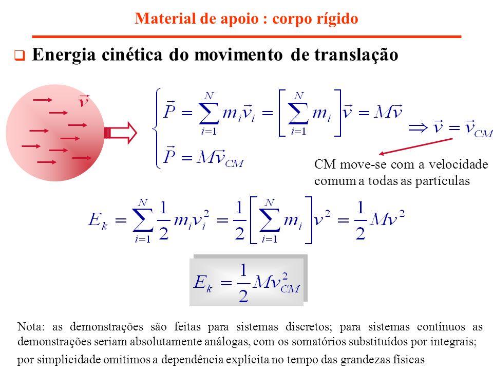 Material de apoio : corpo rígido Energia cinética do movimento de translação Nota: as demonstrações são feitas para sistemas discretos; para sistemas