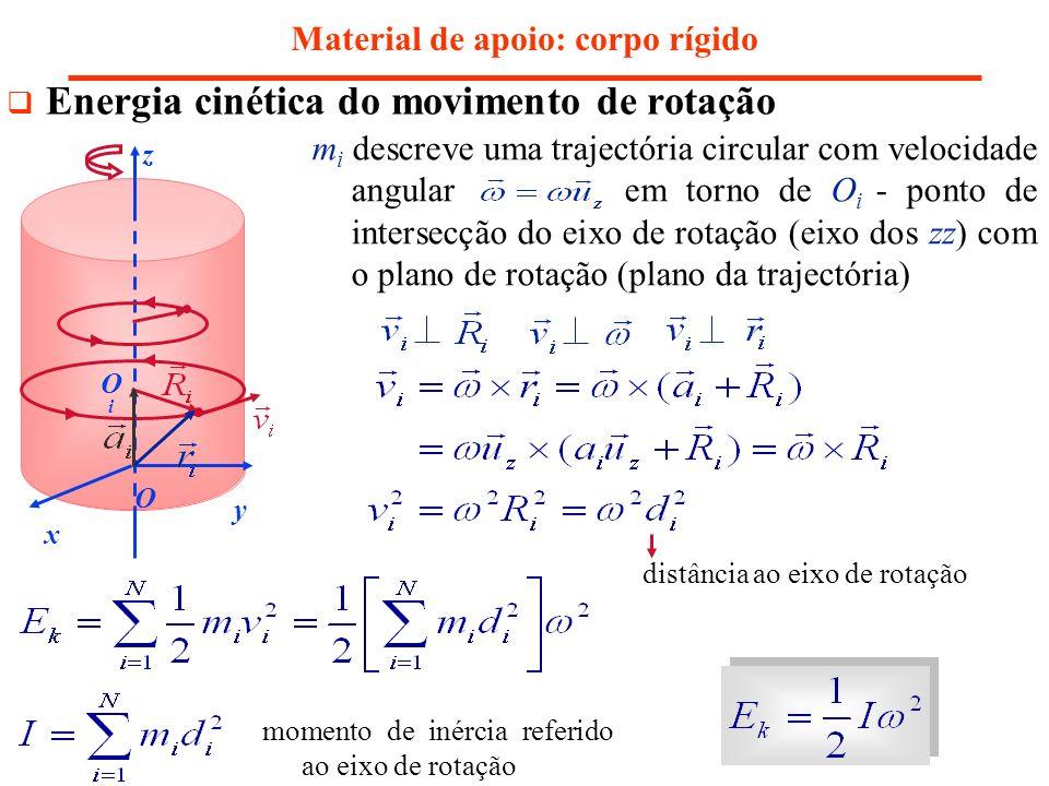 Material de apoio: corpo rígido Energia cinética do movimento de rotação m i descreve uma trajectória circular com velocidade angular em torno de O i