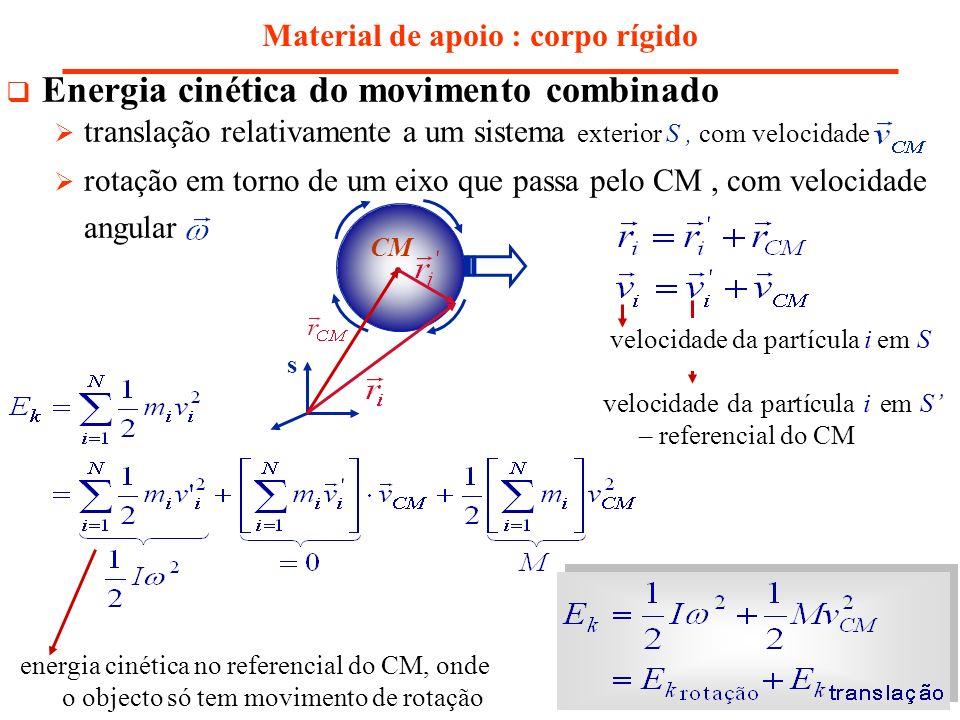 Material de apoio : corpo rígido Energia cinética do movimento combinado translação relativamente a um sistema exterior S, com velocidade rotação em t