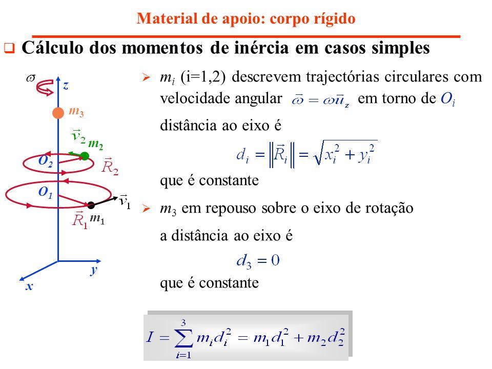 Material de apoio: corpo rígido Cálculo dos momentos de inércia em casos simples m i (i=1,2) descrevem trajectórias circulares com velocidade angular