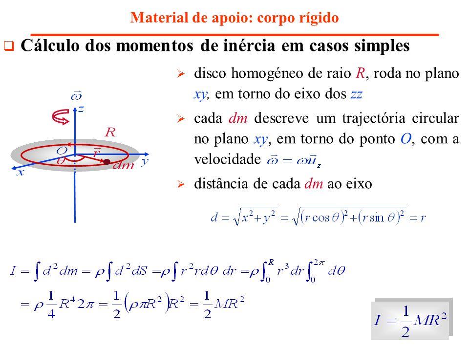 Material de apoio: corpo rígido Cálculo dos momentos de inércia em casos simples disco homogéneo de raio R, roda no plano xy, em torno do eixo dos zz