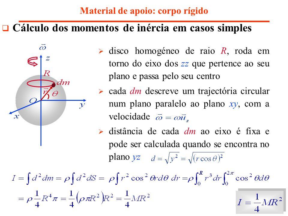 disco homogéneo de raio R, roda em torno do eixo dos zz que pertence ao seu plano e passa pelo seu centro cada dm descreve um trajectória circular num