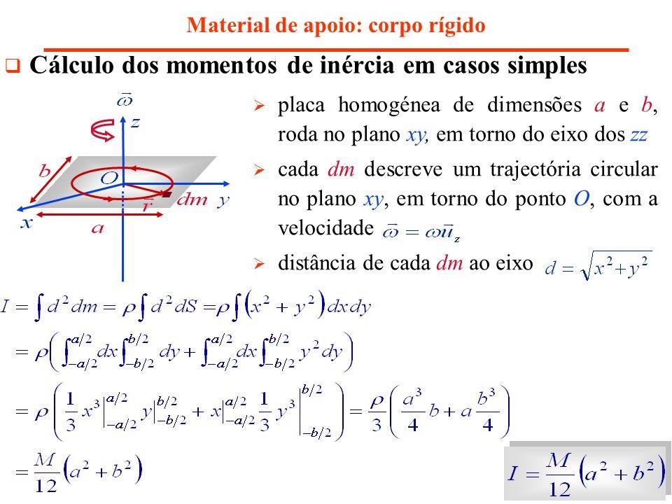 Material de apoio: corpo rígido Cálculo dos momentos de inércia em casos simples placa homogénea de dimensões a e b, roda no plano xy, em torno do eix