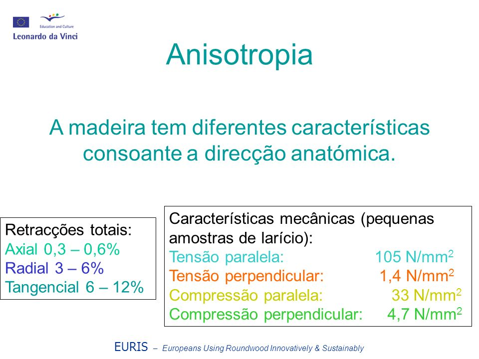 Anisotropia A madeira tem diferentes características consoante a direcção anatómica. Retracções totais: Axial 0,3 – 0,6% Radial 3 – 6% Tangencial 6 –