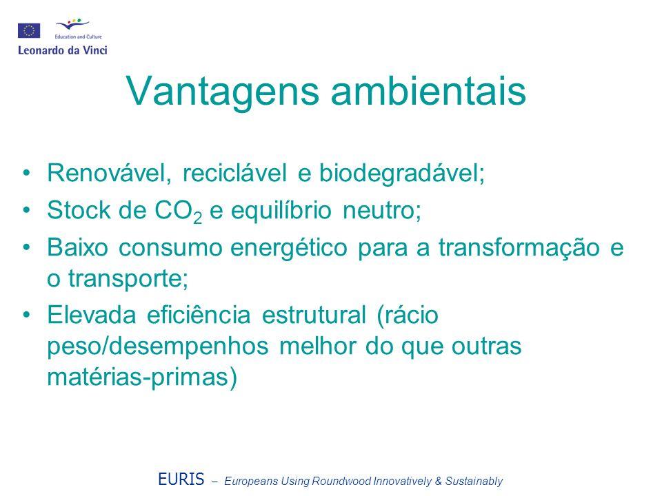 Vantagens ambientais Renovável, reciclável e biodegradável; Stock de CO 2 e equilíbrio neutro; Baixo consumo energético para a transformação e o trans