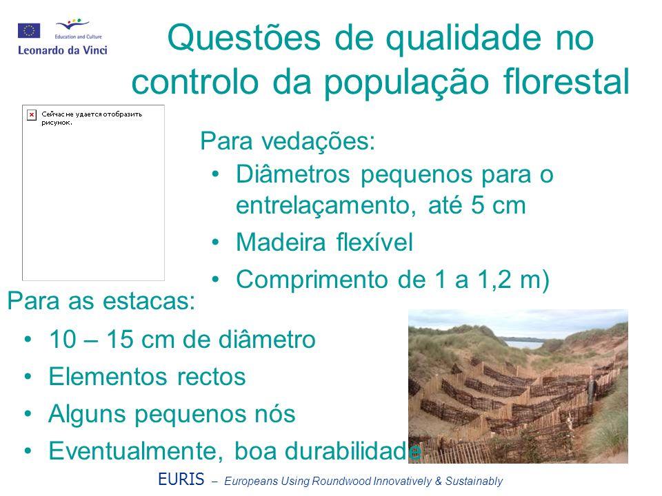 Questões de qualidade no controlo da população florestal EURIS – Europeans Using Roundwood Innovatively & Sustainably Diâmetros pequenos para o entrel