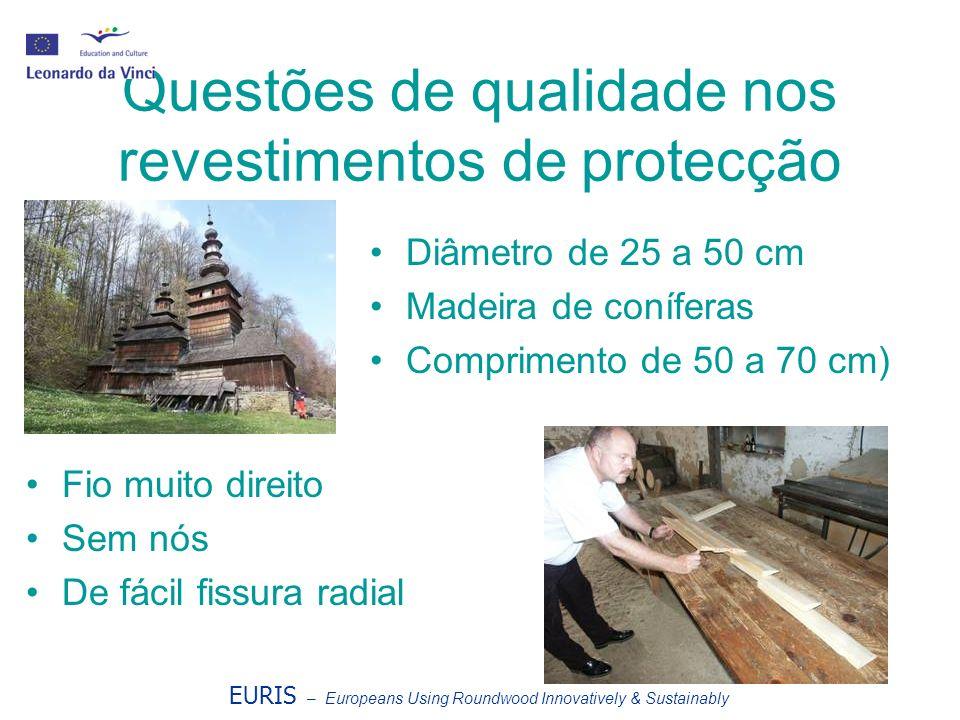 Questões de qualidade nos revestimentos de protecção EURIS – Europeans Using Roundwood Innovatively & Sustainably Diâmetro de 25 a 50 cm Madeira de co