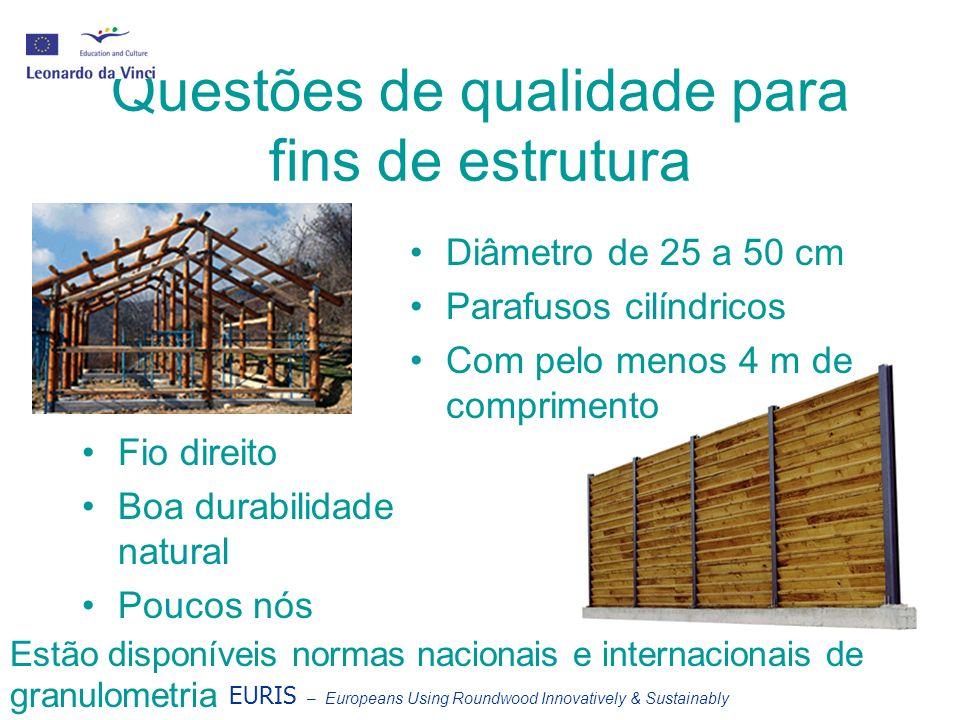 Questões de qualidade para fins de estrutura Diâmetro de 25 a 50 cm Parafusos cilíndricos Com pelo menos 4 m de comprimento Fio direito Boa durabilidade natural Poucos nós Estão disponíveis normas nacionais e internacionais de granulometria EURIS – Europeans Using Roundwood Innovatively & Sustainably