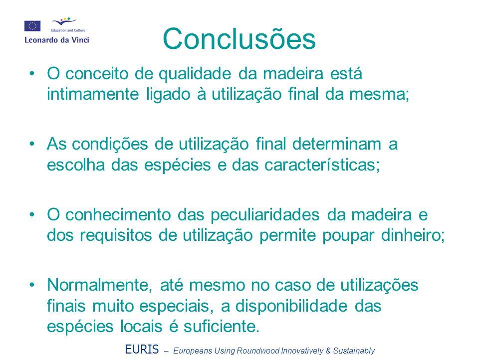 Conclusões O conceito de qualidade da madeira está intimamente ligado à utilização final da mesma; As condições de utilização final determinam a escol