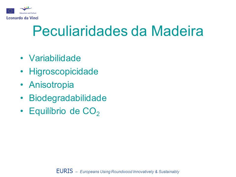 Peculiaridades da Madeira Variabilidade Higroscopicidade Anisotropia Biodegradabilidade Equilíbrio de CO 2 EURIS – Europeans Using Roundwood Innovativ