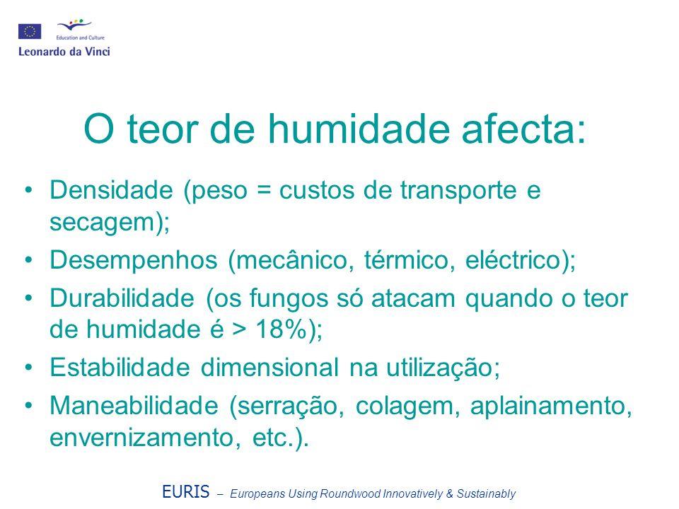 O teor de humidade afecta: Densidade (peso = custos de transporte e secagem); Desempenhos (mecânico, térmico, eléctrico); Durabilidade (os fungos só a