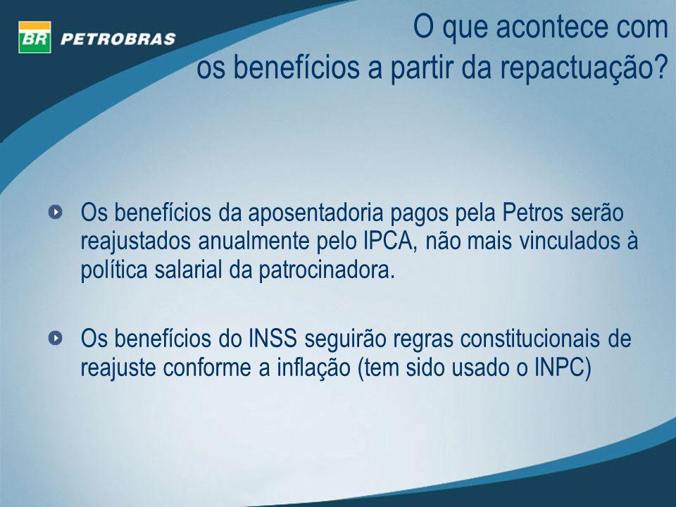 O que acontece com os benefícios a partir da repactuação? Os benefícios da aposentadoria pagos pela Petros serão reajustados anualmente pelo IPCA, não