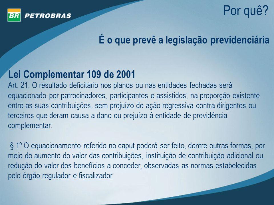 Por quê? É o que prevê a legislação previdenciária Lei Complementar 109 de 2001 Art. 21. O resultado deficitário nos planos ou nas entidades fechadas