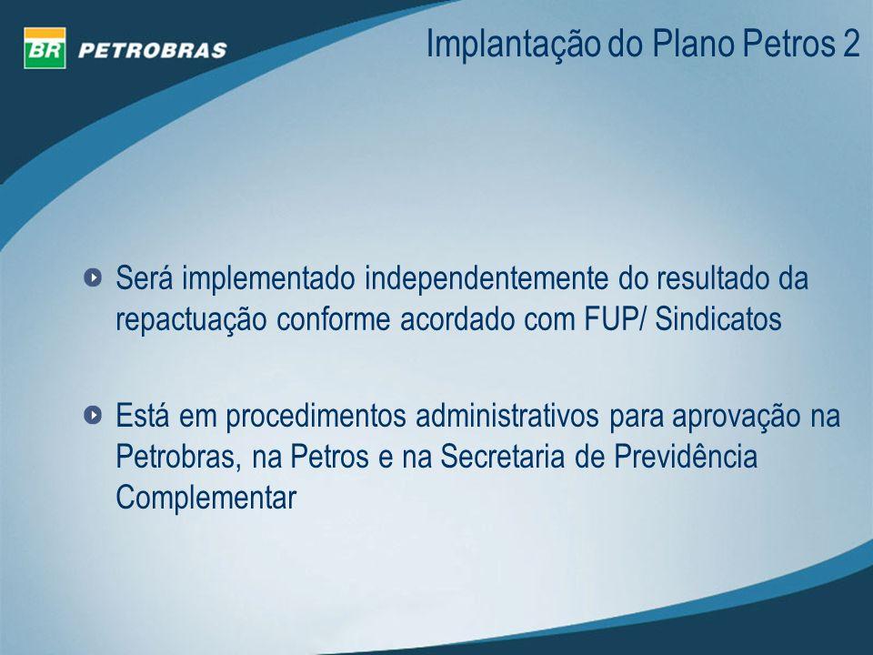 Está em procedimentos administrativos para aprovação na Petrobras, na Petros e na Secretaria de Previdência Complementar Implantação do Plano Petros 2
