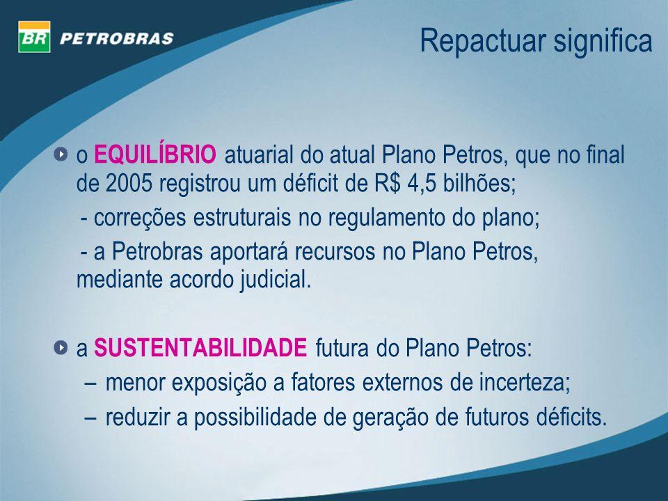 o EQUILÍBRIO atuarial do atual Plano Petros, que no final de 2005 registrou um déficit de R$ 4,5 bilhões; - correções estruturais no regulamento do pl
