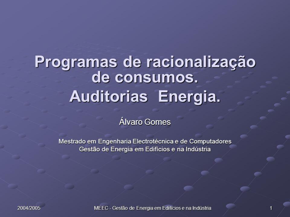 222004/2005 MEEC - Gestão de Energia em Edifícios e na Indústria Intervenção Local Recolha de informação energética da empresa Análise do processo produtivo Estabelecimento dos fluxos de energia Medições de grandezas energéticas e de produção Instalação de equipamento de registo em contínuo (monitorização)
