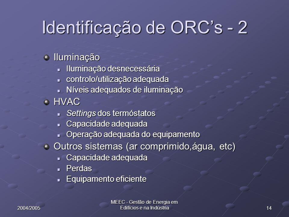 142004/2005 MEEC - Gestão de Energia em Edifícios e na Indústria Identificação de ORCs - 2 Iluminação Iluminação desnecessária Iluminação desnecessári
