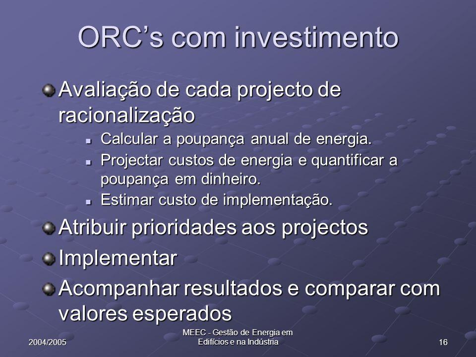 162004/2005 MEEC - Gestão de Energia em Edifícios e na Indústria ORCs com investimento Avaliação de cada projecto de racionalização Calcular a poupanç